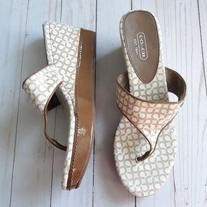 "Coach Felecia Thong Wedge Sandals 3.5"" Heel Sz9.5?"